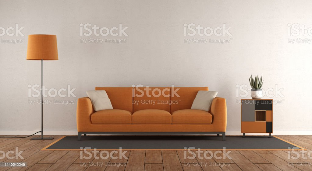 Minimalist White And Orange Living Room Stock Photo Download Image Now Istock