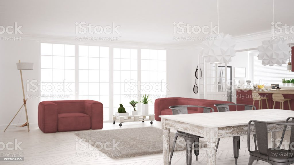 Minimalistischen weißen und roten wohn und küchenbereich
