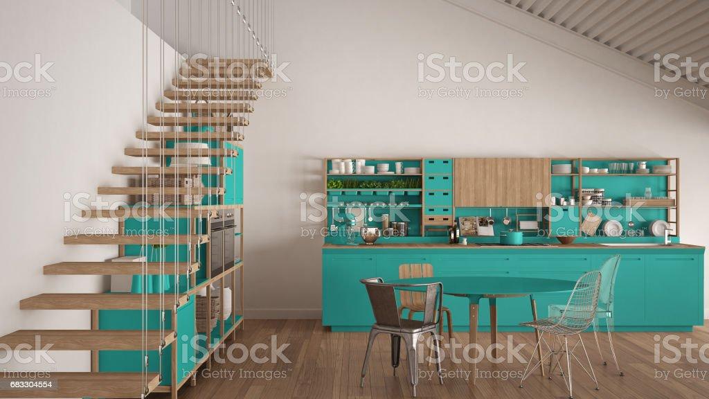 Minimalistisk vit och turkos trä kök, loft med trappor, klassisk skandinavisk inredning royaltyfri bildbanksbilder