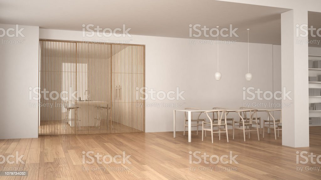 Picture of: Minimalist White And Wooden Living Room With Dining Table Sliding Door And Modern Kitchen Parquet Floor And Pendant Lamp Contemporary Architecture Interior Design Stock Photo Download Image Now Istock