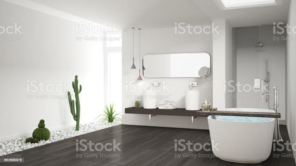 Minimalistische weiße badezimmer mit sukkulentengarten holzboden und