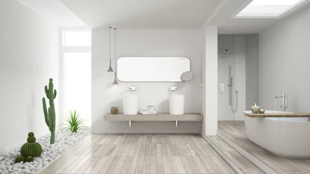 Minimalist white bathroom with succulent garden, wooden floor and pebbles, hotel, spa, modern interior design stock photo