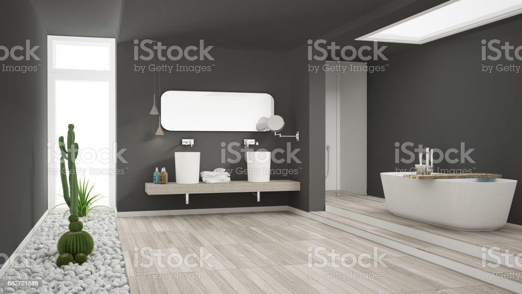 Minimalistische weiße badezimmer mit sukkulentengarten holzboden