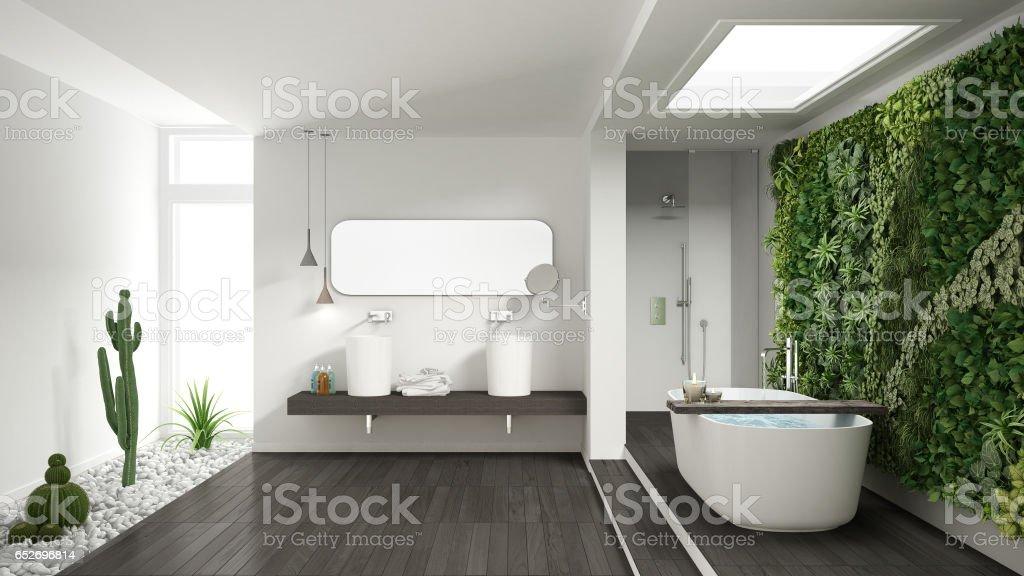 Minimalistische weiße badezimmer mit vertikalen und saftige garten