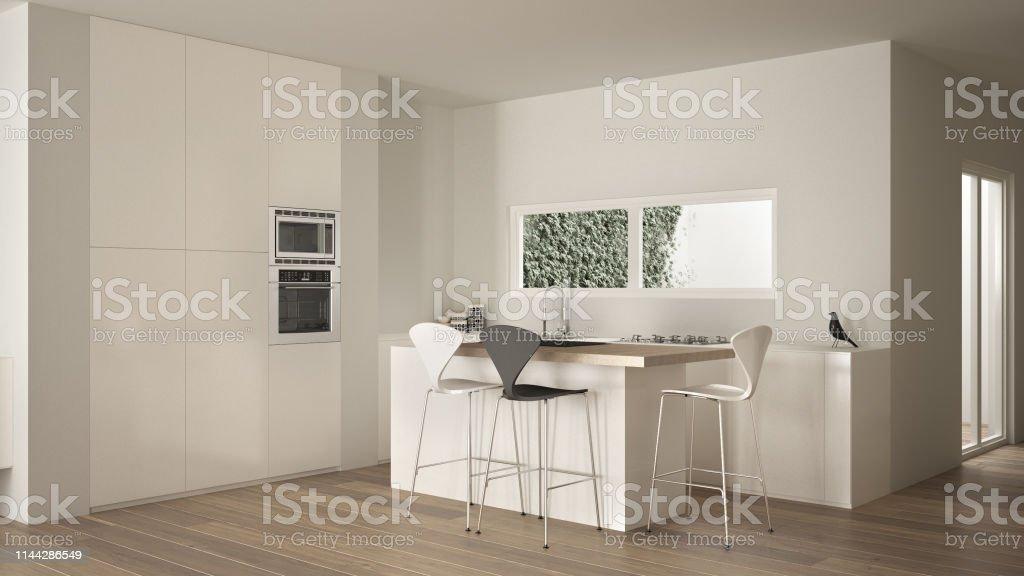 Minimalistische Weiße Küche Mit Inselund Hocker Parkettboden ...