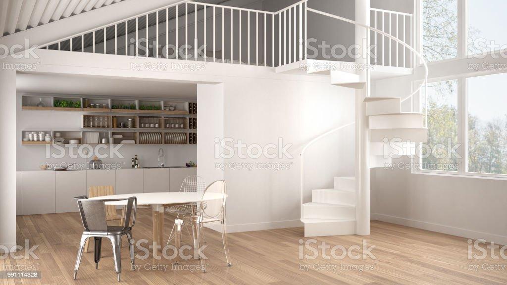 Minimalistische Weiße Küche Mit Mezzanine Und Moderne Wendeltreppe ...