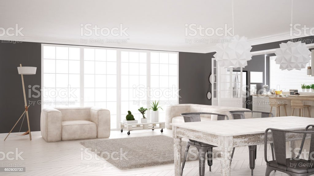 Minimalist White Living And Kitchen Scandinavian Classic Interior