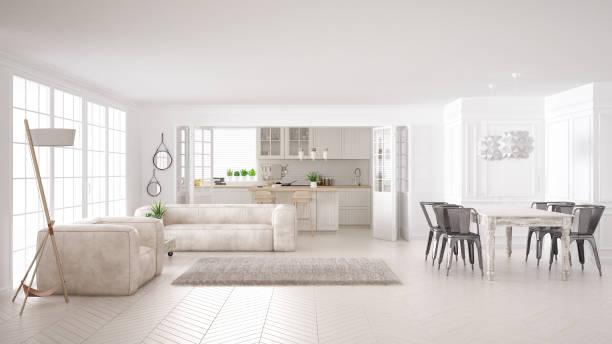 minimalistische weiße wohn- und küchenbereich, skandinavische klassische innenarchitektur - exklusive mode stock-fotos und bilder
