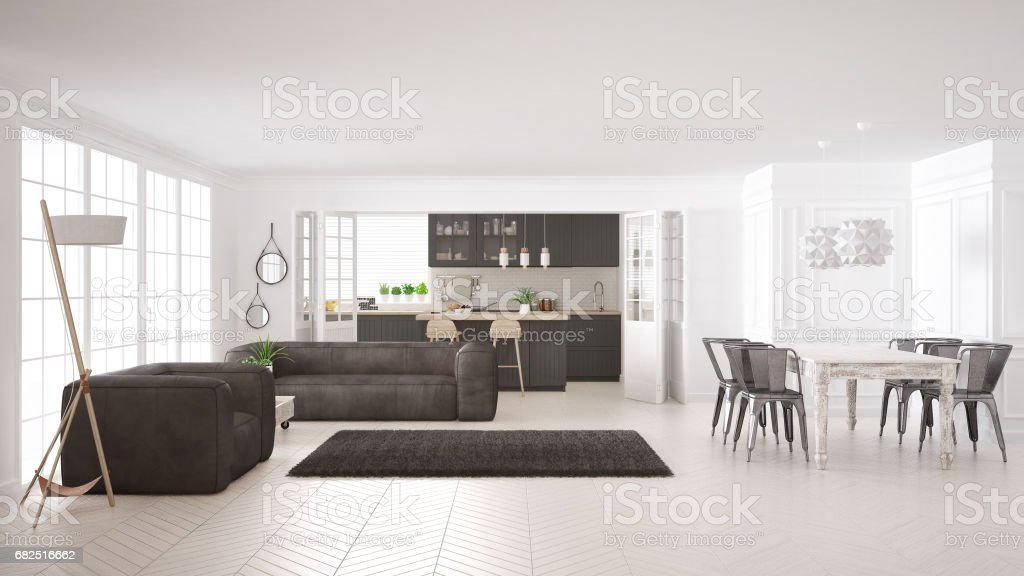 Minimalist white living and kitchen, scandinavian classic interior design royalty-free stock photo