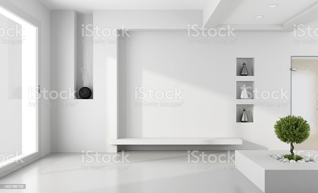 Minimalist white room stock photo