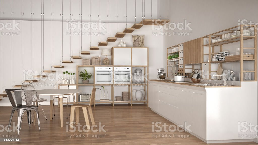 Minimalist White Wooden Kitchen Loft With Stairs Classic Scandinavian Interior Design Stock Photo Download Image Now Istock