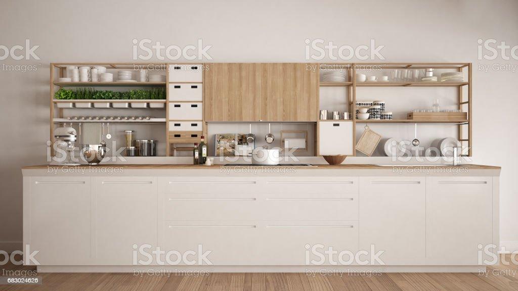 Cocina madera blanco minimalista con cerca de electrodomésticos, diseño de interiores clásico escandinavo - foto de stock