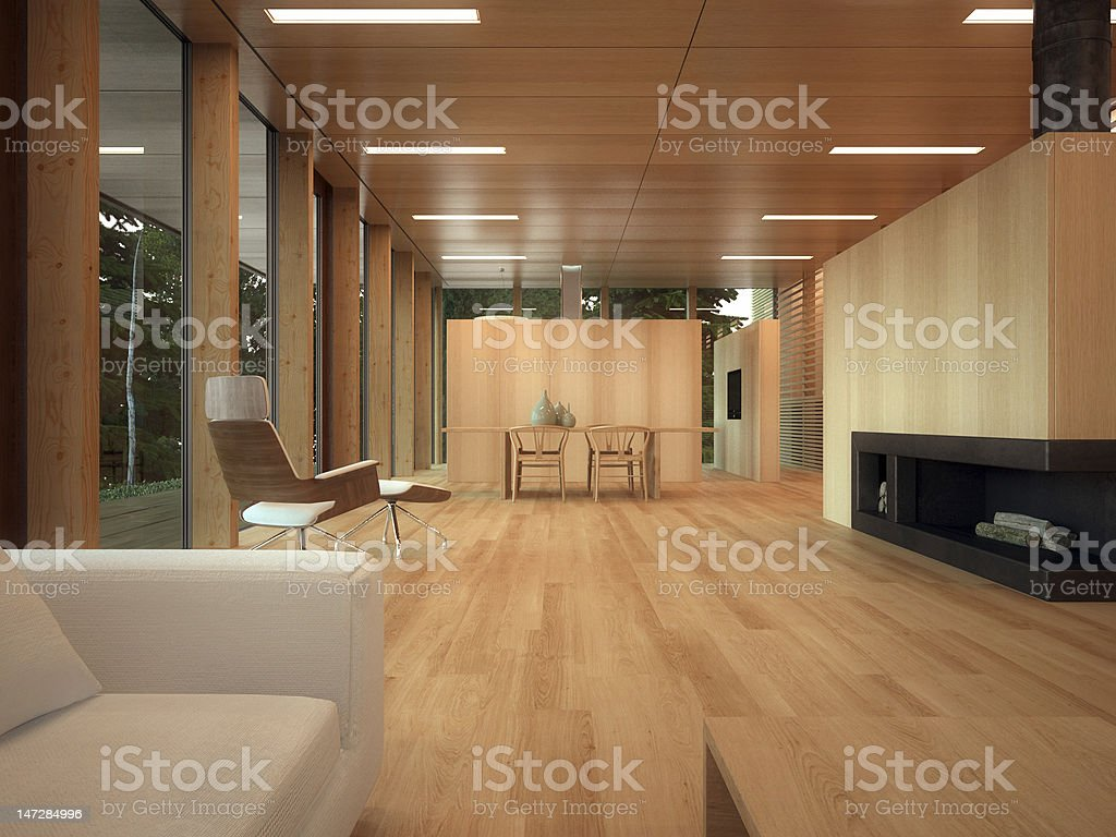 Minimalist wood lounge royalty-free stock photo