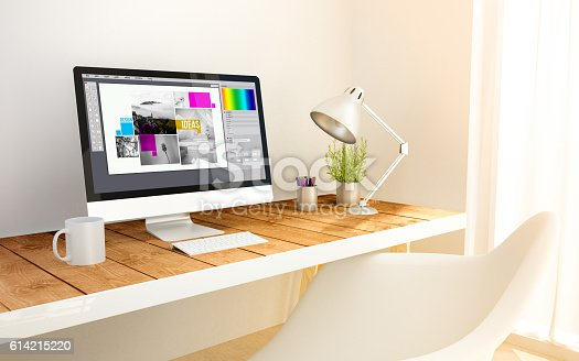 3d generated minimalist workspace with graphic design screen computer and copyspace. 3d rendering. all screen graphics are made up.