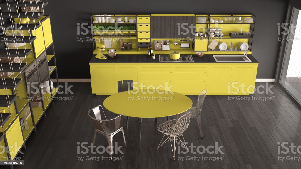Minimalist yellow and gray wooden kitchen, loft with stairs, classic scandinavian interior design, top view foto stock royalty-free