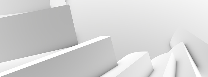 Minimalistic architectural white abstract background from a kind of blocks