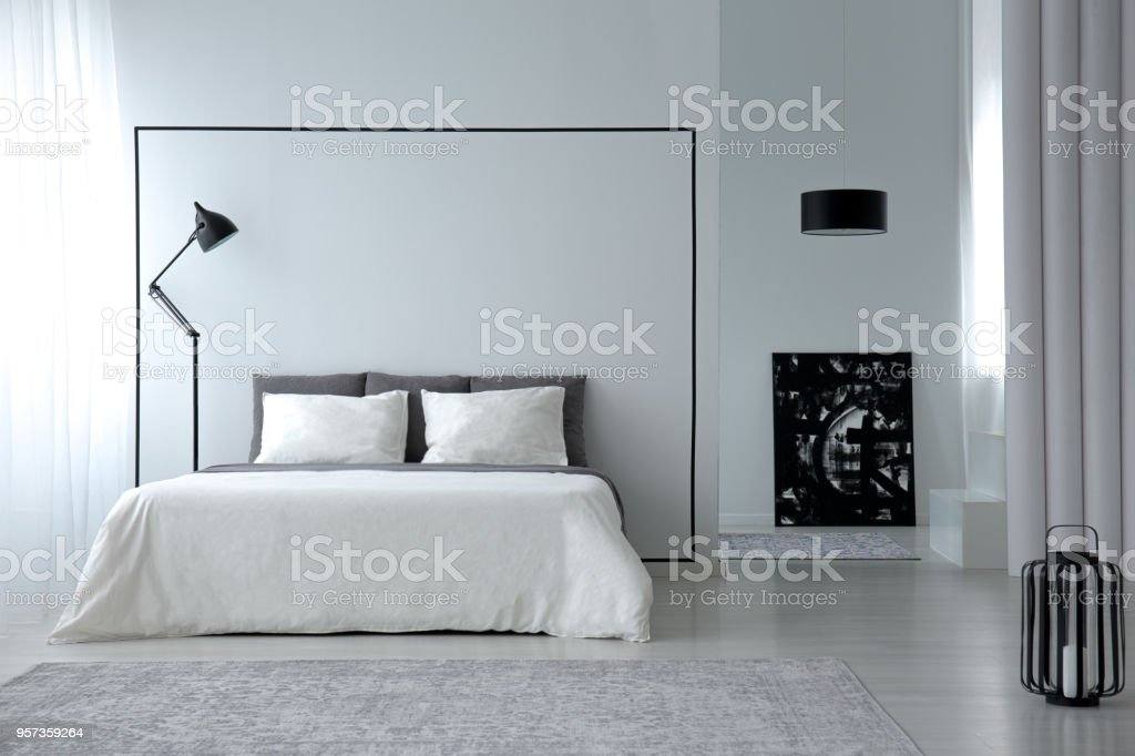 Minimalistic bedroom interior stock photo