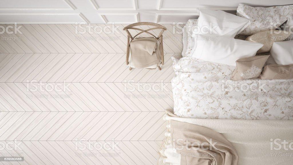 Minimalistic classic bedroom, top view, white interior design stock photo