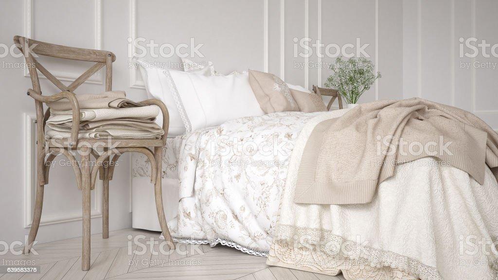 Minimalistic classic bedroom, white interior design stock photo