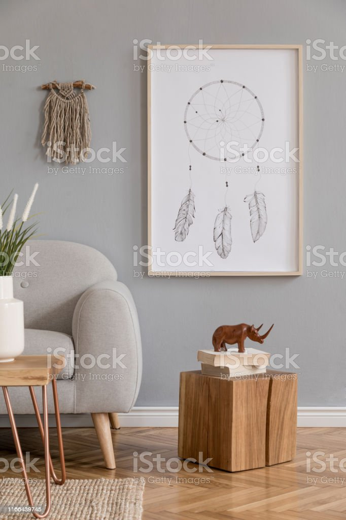 Minimalistic Design Home Interior Of Living Room With Gray Sofa