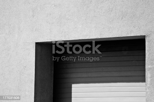 istock Minimalistic garage doors, architecture detail, black and white 177031505