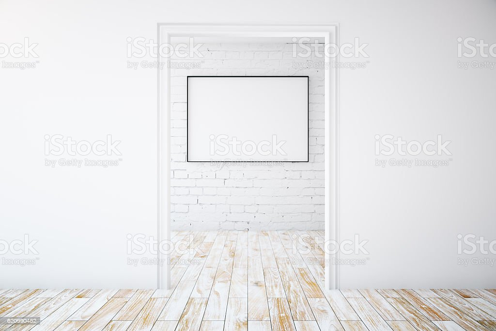 Minimalistic interior with picture frame foto royalty-free