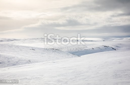 Minimalistic landscape scenery in winter, Varanger, Northern Norway.