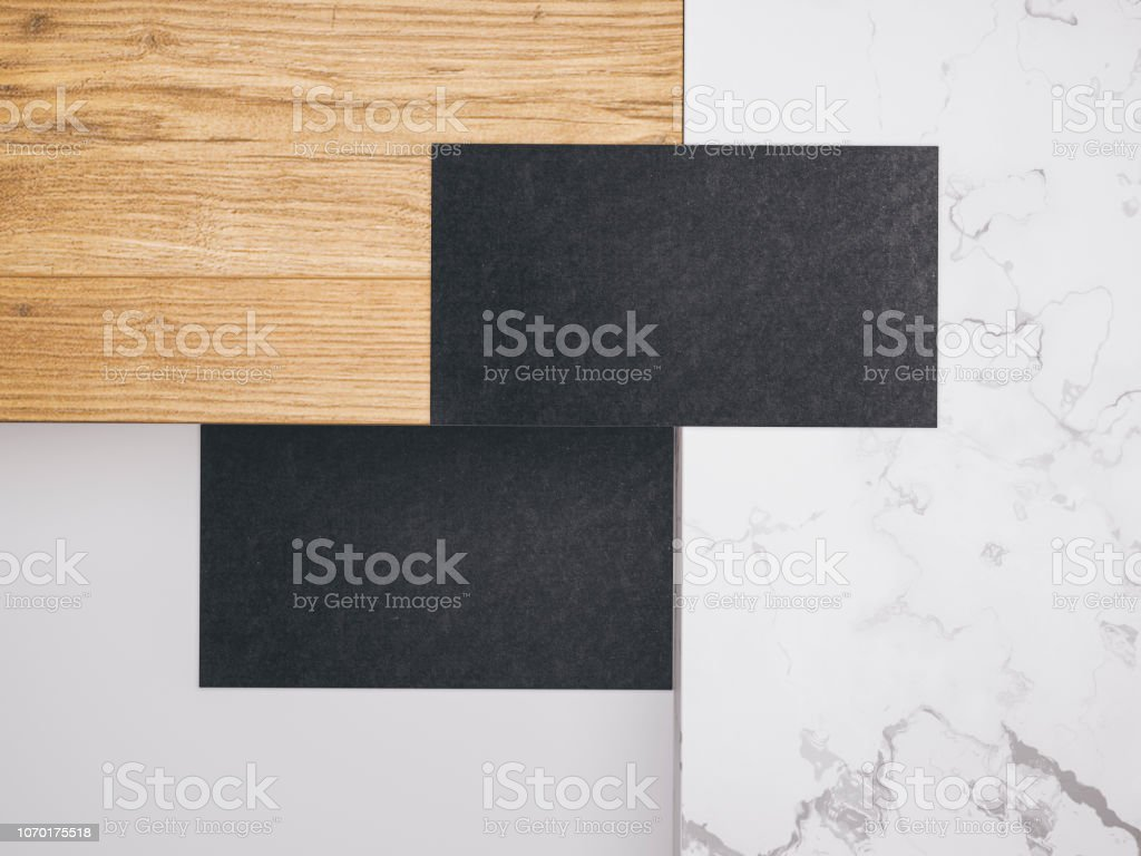Minimalistische Mockup Mit Visitenkarten Auf Holz Und Warble
