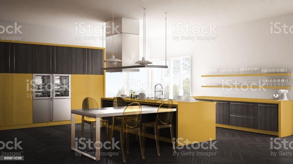 Geel De Keuken : Minimalistische moderne keuken met tafel stoelen en parket vloer