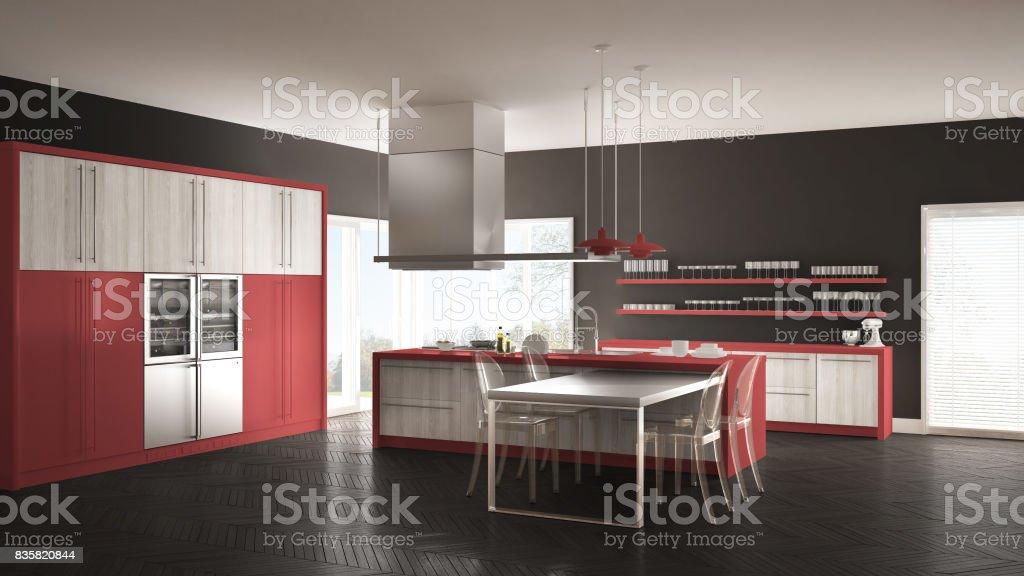 Cocina Moderna Minimalista Con Mesa Sillas Y Parquet Piso Gris Y Rojo  Diseño De Interiores Foto de stock y más banco de imágenes de A la moda