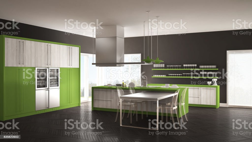 Cocina Moderna Minimalista Con Mesa Sillas Y Parquet Piso Gris Y Verde  Interiorismo Foto de stock y más banco de imágenes de A la moda