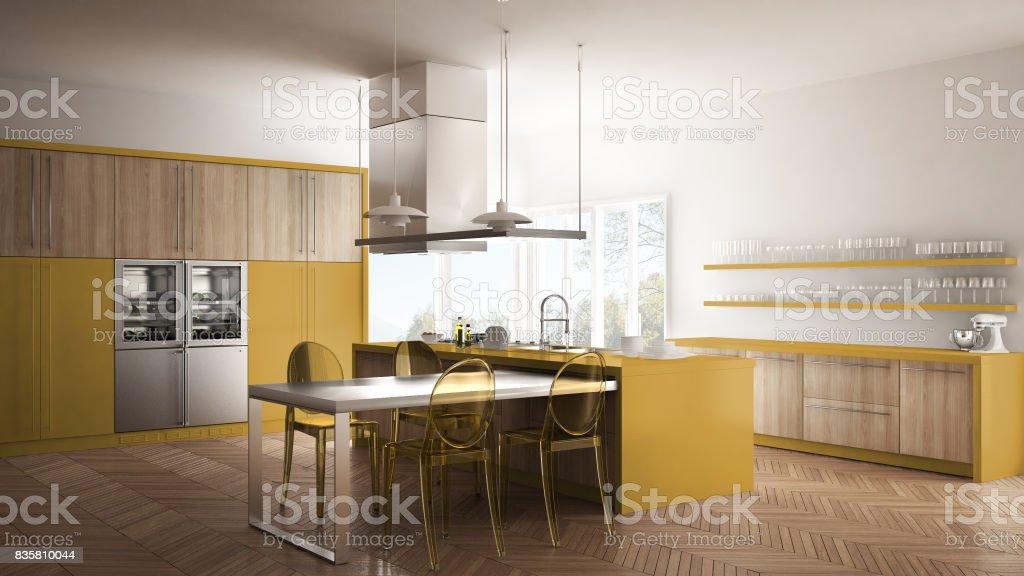 Cocina Moderna Minimalista Con Mesa Sillas Y Parquet Piso Blanco Y Amarillo  Interiorismo Foto de stock y más banco de imágenes de A la moda