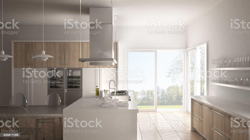 Minimalistische Moderne Küche Mit Tisch, Stühlen Und Parkett Boden, Weiße  Innenarchitektur Lizenzfreies Stock