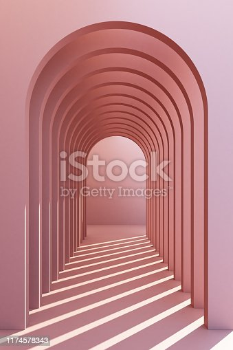Minimalistic, pastel arch hallway architectural corridor with empty wall. 3d render, minimal.