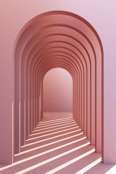 minimalistische, pastel boog hal architecturale corridor met lege muur. 3d renderen, minimaal. - boog architectonisch element stockfoto's en -beelden