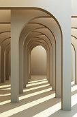 istock Minimalistic, pastel arch hallway architectural corridor with empty wall. 3d render, minimal. 1174578350