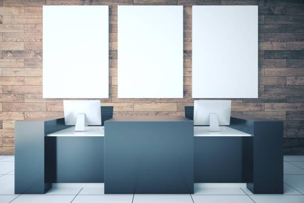 Minimalistic reception desk stock photo