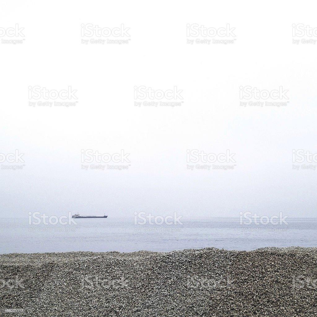 Minimalistic view of sea coast royalty-free stock photo