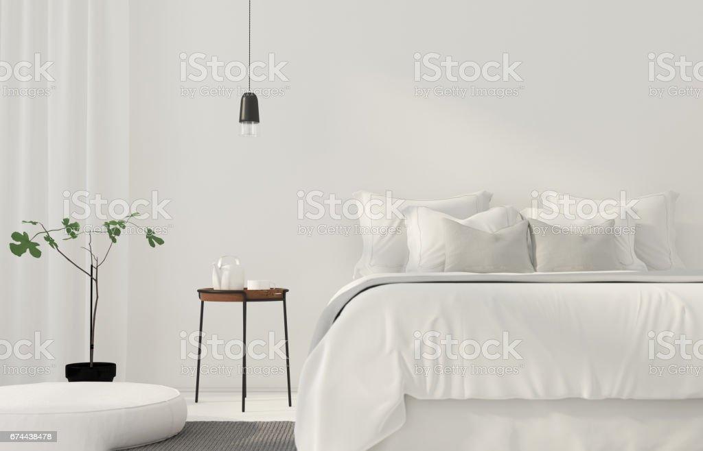 Minimalistic white bedroom stock photo