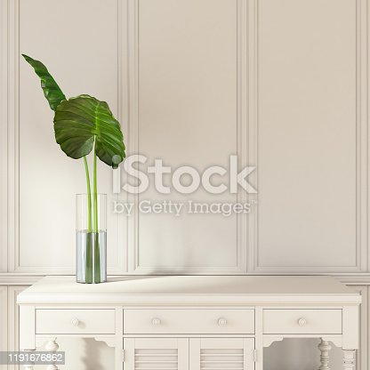 istock Minimalistic White Wooden Interior with a Drawer Copy Space 1191676862