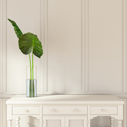 Minimalistic White Wooden Interior with a Drawer. 3d Render