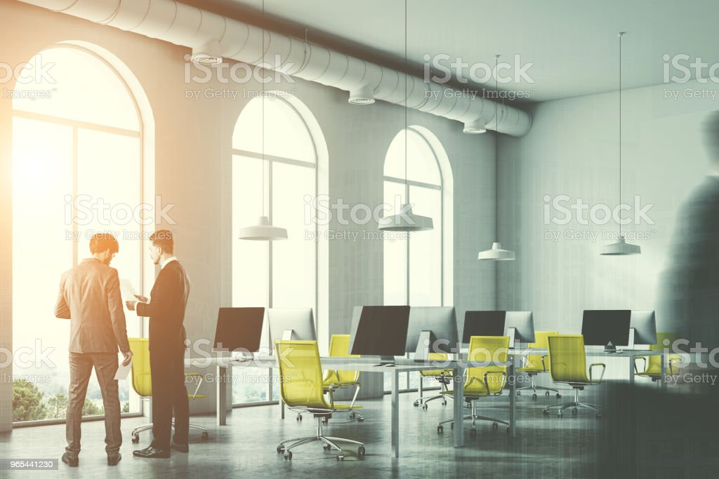 Minimalistic yellow chair office, businessmen zbiór zdjęć royalty-free