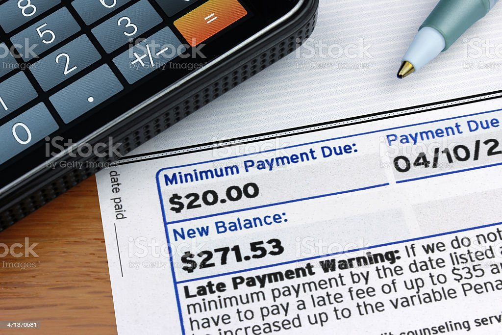 Minimum Payment Due stock photo