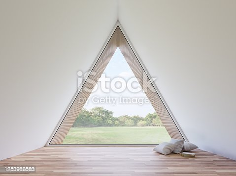 1136239089 istock photo Mininal style empty triangle room interior with nature view 3d render 1253986583