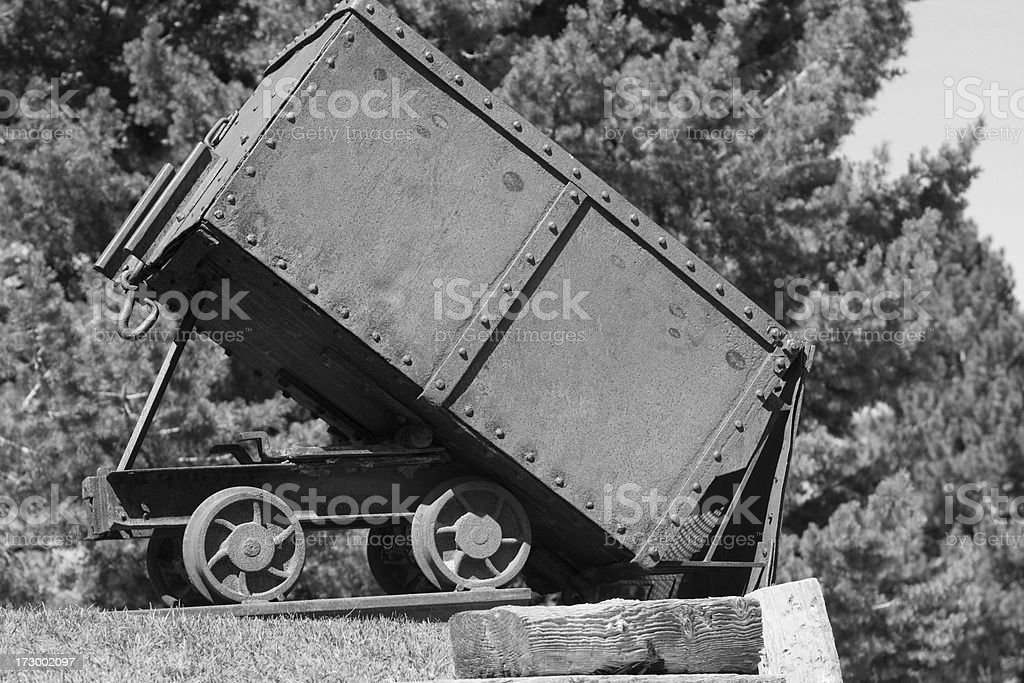 Mining Cart in Black and White stock photo