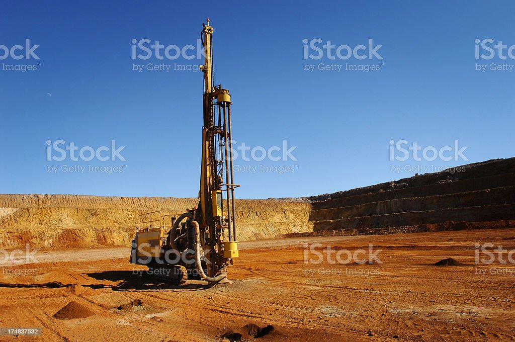 Mining drill rig boring blast holes. stock photo