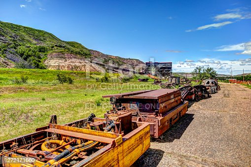 East Coulee, Alberta, Canada - July 3, 2020: Coal mine machinery from the turn of the century at the Atlas Coal Mine in East Coulee Alberta. It is now a historical museum.