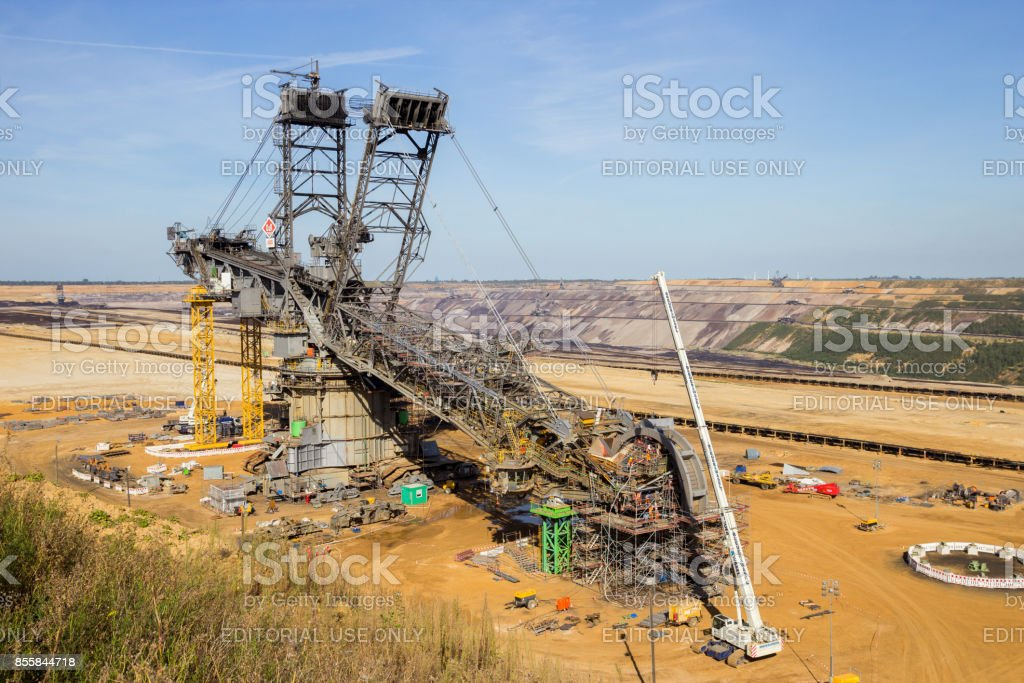 Construction of a large mining bucket-wheel excavator to dig for...