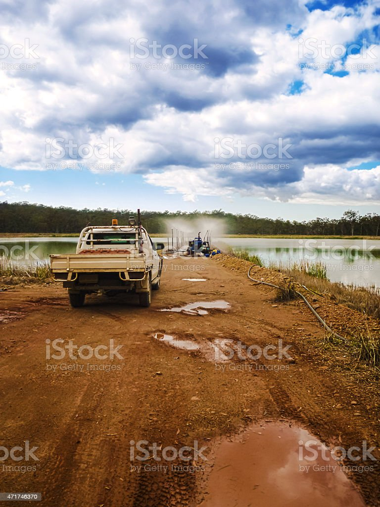 Mining Evaporation Pond stock photo
