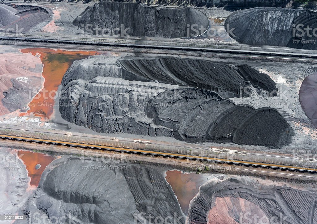 Mining excavator on the bottom surface mine. Brown coal deposits stock photo